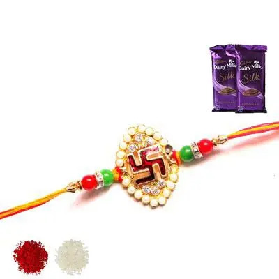 Swastik Rakhi with Silk