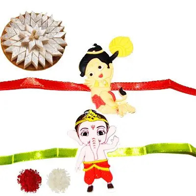 Set of 2 Kids Rakhi with Burfi