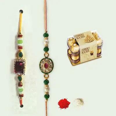 Set of 2 Kundan Rakhi with Ferrero