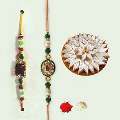 Set of 2 Kundan Rakhi with Kaju Burfi