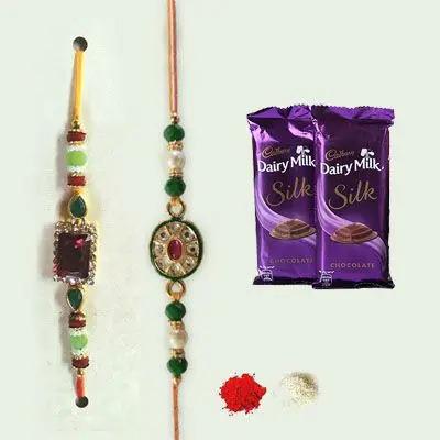 Set of 2 Kundan Rakhi with Silk