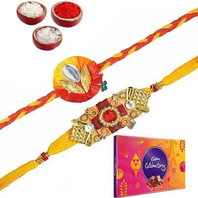 Set of 2 Mauli Rakhi with Celebration