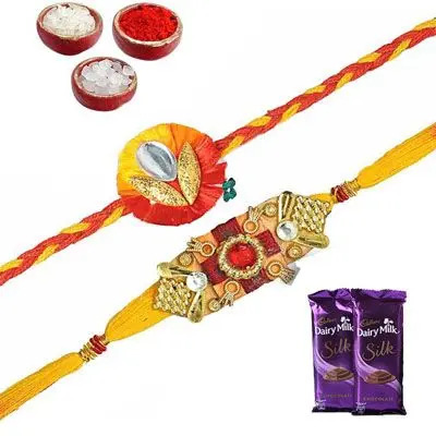 Set of 2 Mauli Rakhi with Silk