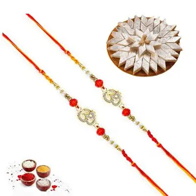 Set of 2 Om Rakhi with Burfi