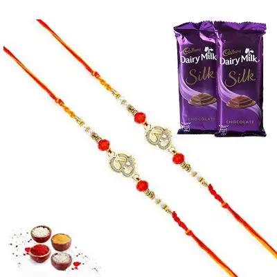 Set of 2 Om Rakhi with Silk