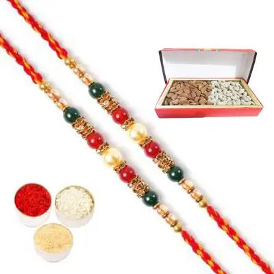 Set of 2 Pearl Rakhi with Dry Fruits