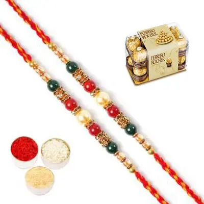 Set of 2 Pearl Rakhi with Ferrero