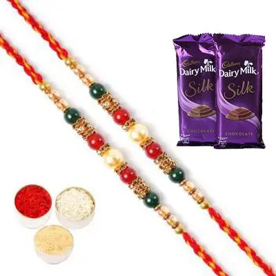 Set of 2 Pearl Rakhi with Silk