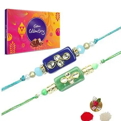 Set of 2 Stone Rakhi with Celebration