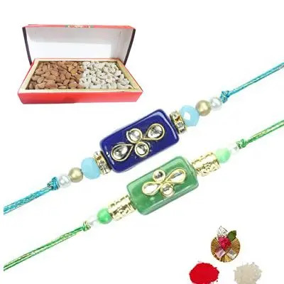 Set of 2 Stone Rakhi with Dry Fruits