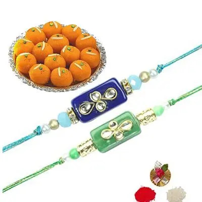 Set of 2 Stone Rakhi with Laddu
