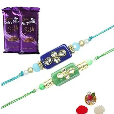 Set of 2 Stone Rakhi with Silk