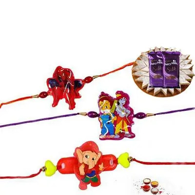 Set of 3 Kids Rakhi with Burfi & Silk