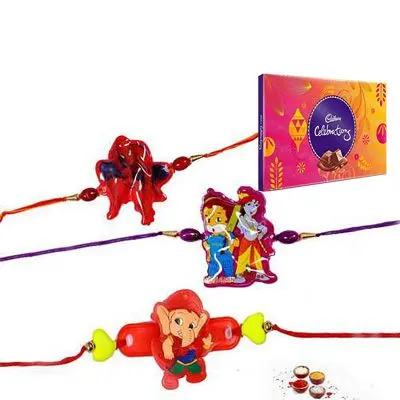 Set of 3 Kids Rakhi with Celebration