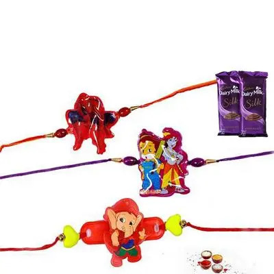 Set of 3 Kids Rakhi with Silk