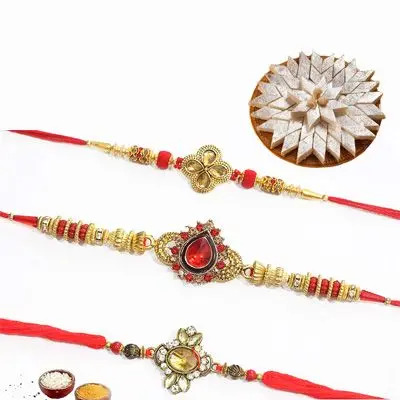 Set of 3 Kundan Rakhi with Burfi