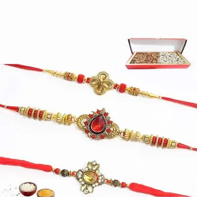 Set of 3 Kundan Rakhi with Dry Fruits