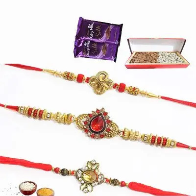 Set of 3 Kundan Rakhi with Dry Fruits & Silk