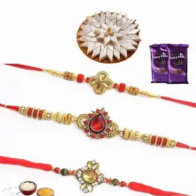 Set of 3 Kundan Rakhi with Silk & Burfi
