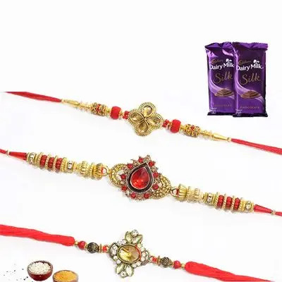 Set of 3 Kundan Rakhi with Silk