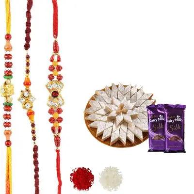 Set of 3 Mauli Rakhi with Burfi & Silk