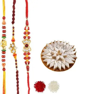Set of 3 Mauli Rakhi with Burfi
