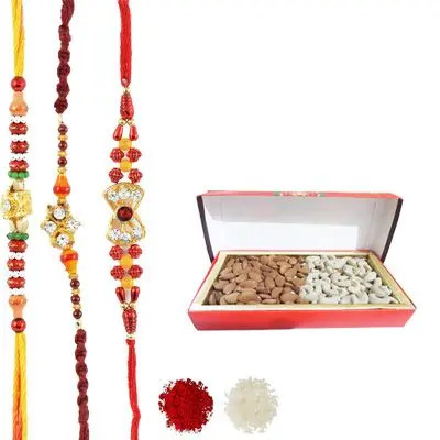 Set of 3 Mauli Rakhi with Dry Fruits