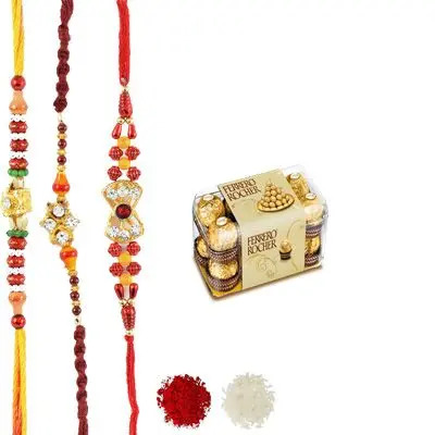 Set of 3 Mauli Rakhi with Ferrero Rocher
