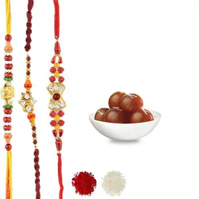 Set of 3 Mauli Rakhi with Gulab Jamun