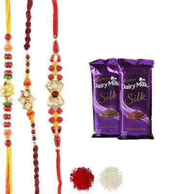 Set of 3 Mauli Rakhi with Silk