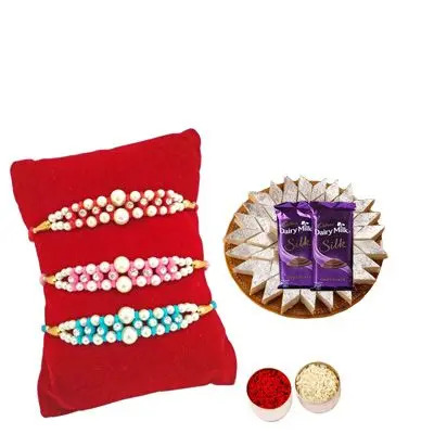 Set of 3 Pearl Rakhi with Burfi with Silk