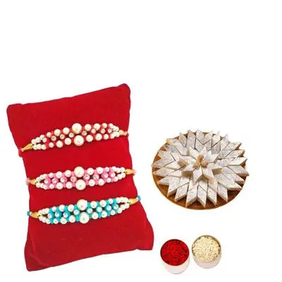 Set of 3 Pearl Rakhi with Burfi