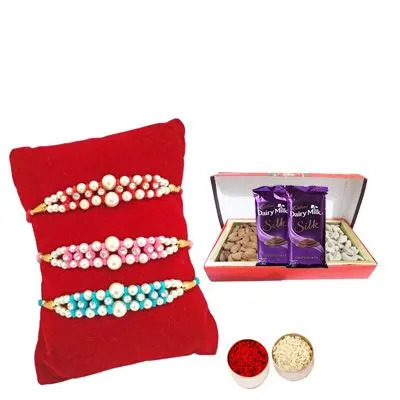 Set of 3 Pearl Rakhi with Dry Fruits with Silk