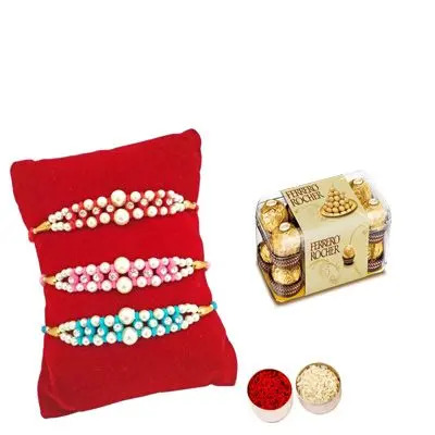 Set of 3 Pearl Rakhi with Ferrero Rocher
