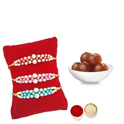 Set of 3 Pearl Rakhi with Gulab Jamun