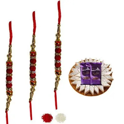 Set of 3 Rudraksha Rakhi with Burfi & Silk