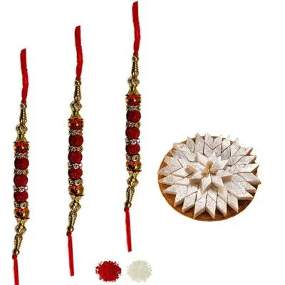 Set of 3 Rudraksha Rakhi with Burfi