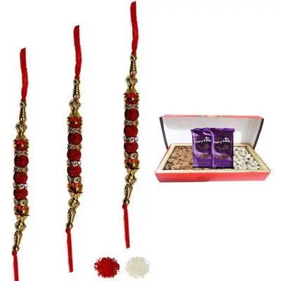Set of 3 Rudraksha Rakhi with Dry Fruits & Silk