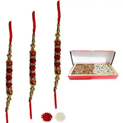 Set of 3 Rudraksha Rakhi with Dry Fruits