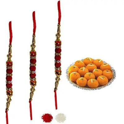 Set of 3 Rudraksha Rakhi with Laddu