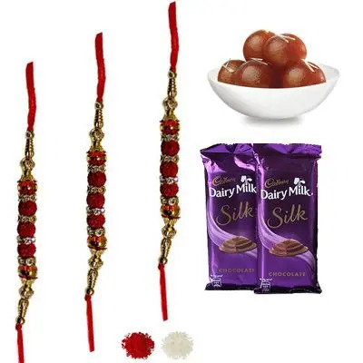 Set of 3 Rudraksha Rakhi with Silk & Gulab Jamun