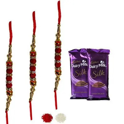 Set of 3 Rudraksha Rakhi with Silk