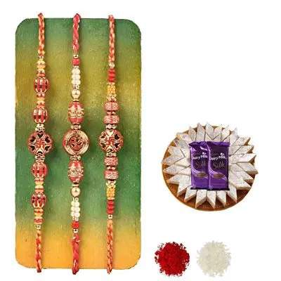 Set of 3 Swastik Rakhi with Burfi with Silk