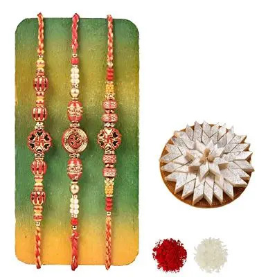 Set of 3 Swastik Rakhi with Burfi