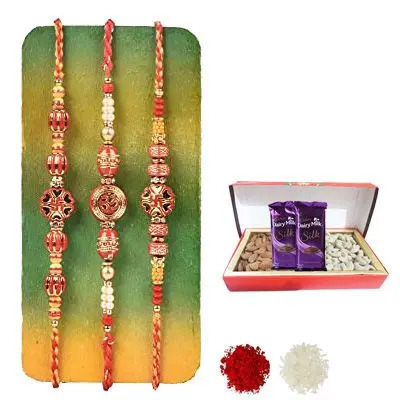 Set of 3 Swastik Rakhi with Dry Fruits with Silk