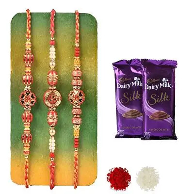 Set of 3 Swastik Rakhi with Silk
