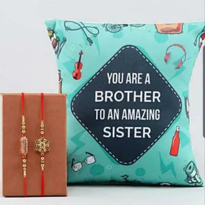 Set of Rakhi with Personalized Cushion