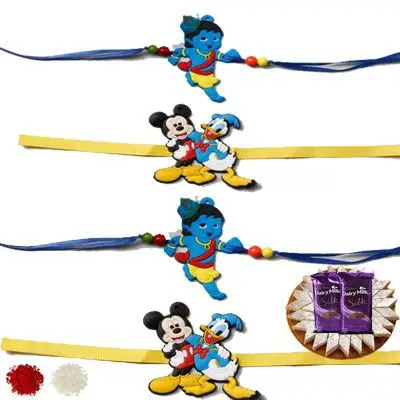 Set of 4 Kids Rakhi with Burfi & Silk