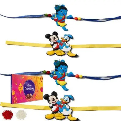 Set of 4 Kids Rakhi with Celebration