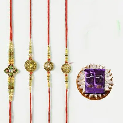 Set of 4 Mauli Rakhi with Burfi & Silk